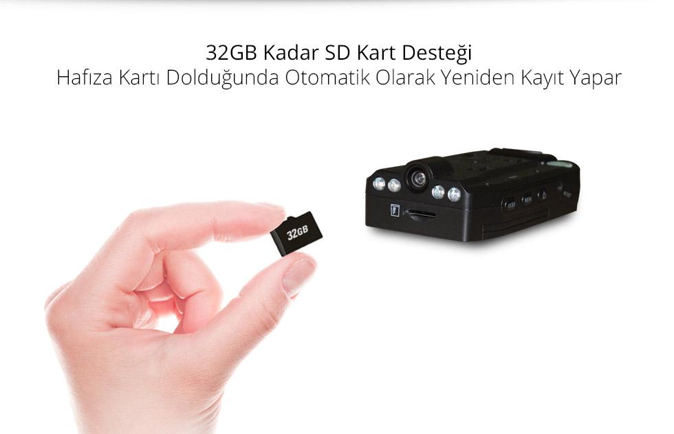Spycam X Type-32GB Kadar SD Kart Desteği